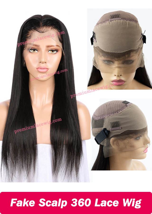 Fake Scalp Wig 360 Lace Wig Brazilian Straight Hair 18inch
