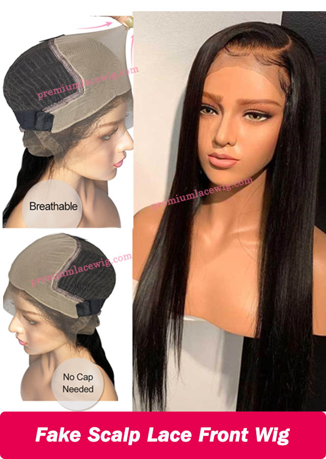 Fake Scalp Wig 13x6 Lace Front Wig Brazilian Human Hair Straight 18inch