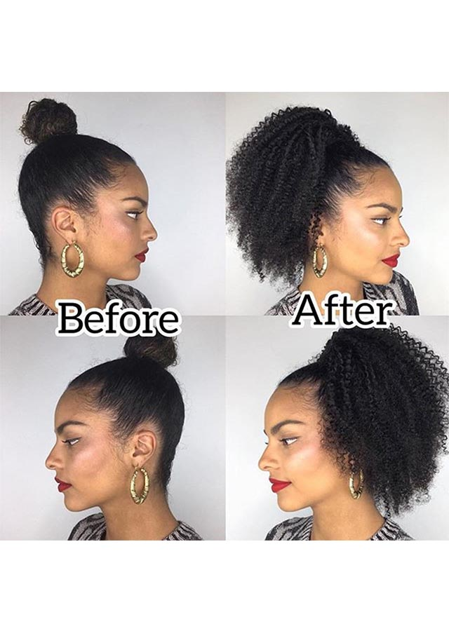 Afro Kinky Curly Ponytail Human Hair Remy Brazilian Drawstring Ponytail
