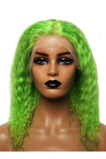 Green Lace Front Human Hair Wig 13x4 Transparent Lace Short Bob Curly Wig