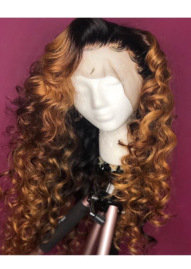 Honey Blonde Lace Front Wigs Loose Curly Ombre Wig 22inch 180% Density Lace Front Wig