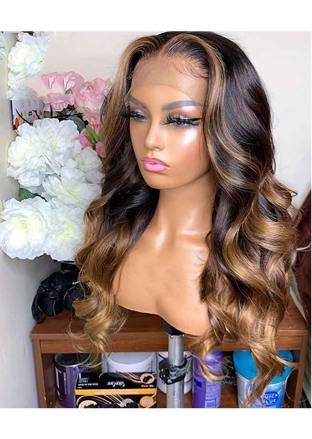 Honey Blonde Lace Front Wigs Ombre 13x6 Lace Front Human Hair Wigs Colored 22inch 180%