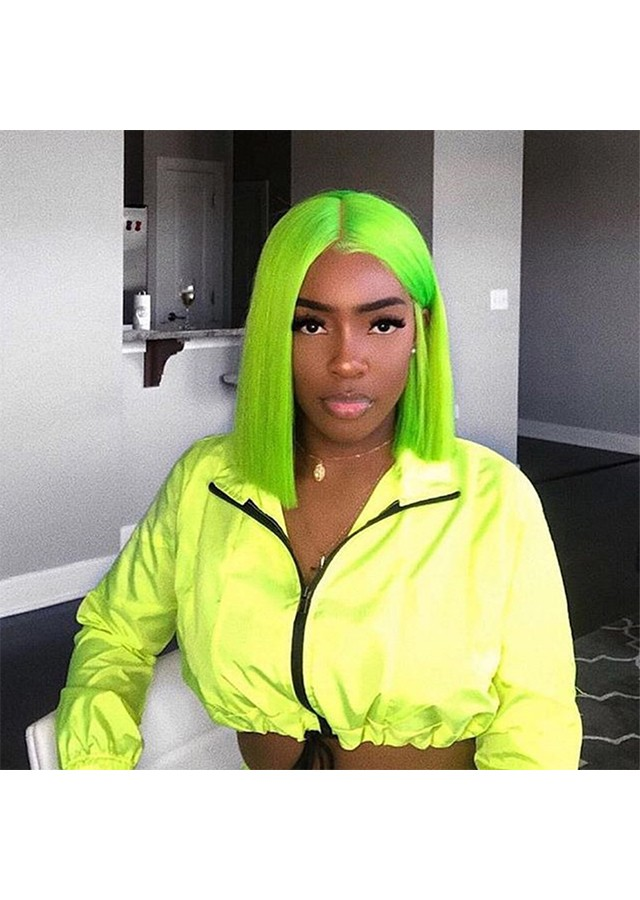 Green Short Bob Wig Colorful Lace Front Human Hair Wig Transparent Lace
