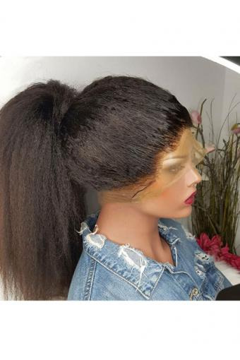 Kinky Straight 360 Lace Wigs Brazilian Hair 150% Hair Density 18inch