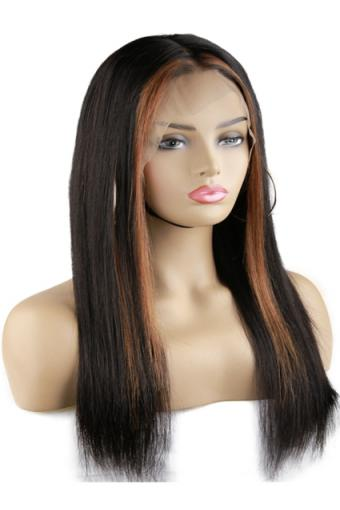 Lace Front Human Hair Wigs Straight Brown Highlight 13x4 18inch