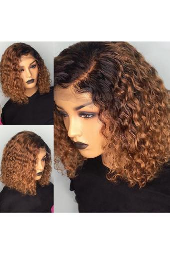 T1B/30 Ombre Color Short Curly Lace Front Human Hair Wigs 12inch 150% density