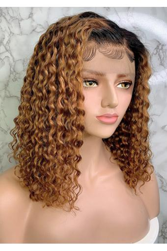 16inch 1B 30 Curly Brazilian Remy Hair Lace Wig Ombre Color Lace Front Human Hair Wigs 18inch 150% Density