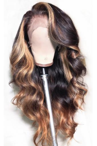 Full Lace Human Hair Wigs Honey Blonde Lace Wigs Ombre 18inch 150% density