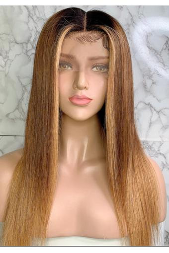 Full Lace Wig 150% Straight 1B/30/27 Mix Color Brazilian Remy hair Ombre Wigs 16inch