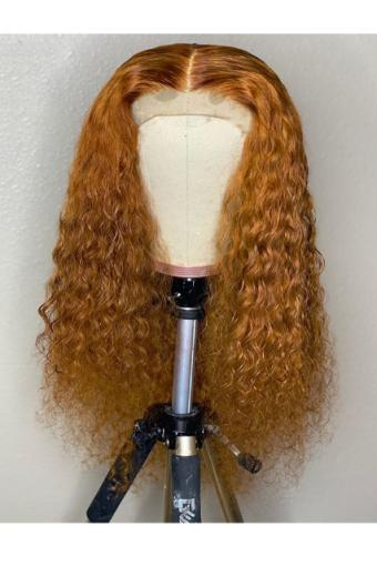 Color 30 13x6 Deep Part Lace Front Colored Human Hair Wigs for Women Curly HD Transparent Lace 20inch 150% density