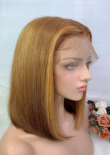 Ombre Brazilian 13x6 Lace Frontal Human Hair Wigs With Baby Hair #30/27 150% Density 12inch