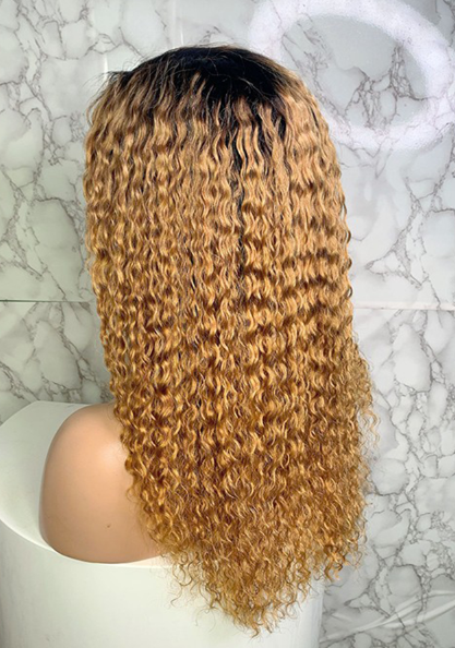 Ombre Color Blonde Jeri Curl Full Lace Human Hair Wig With Baby Hair T1B/27 150% Density 20inch