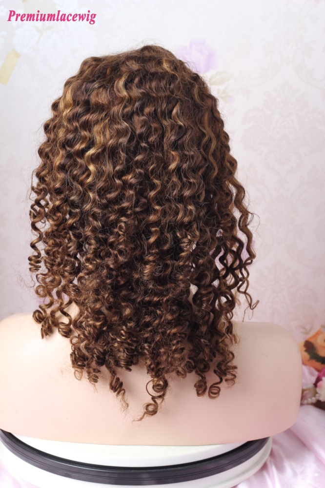 16inch Curly Color Ombre 4 highlight 30 Straight Glueless Full Lace Human Hair Wig