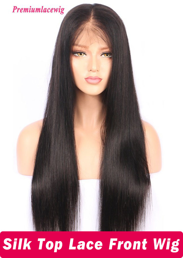 Brazilian silk top lace front wig Pre Plucked Cheap human hair wig 18inch