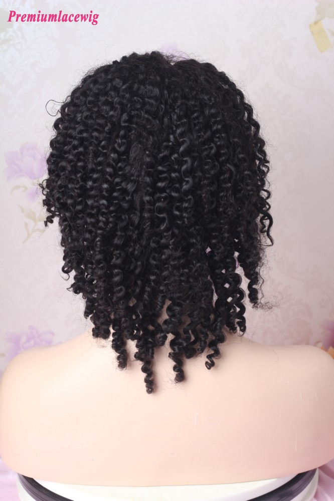10inch Color 1 Afro Curly Lace Front Wig 150 Density