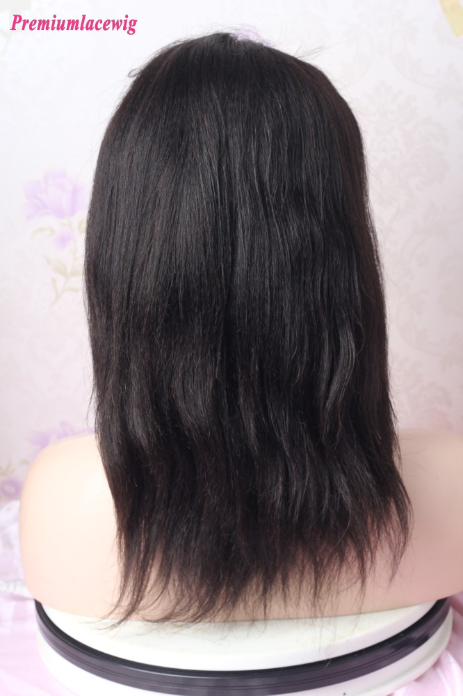 12inch Natural Color Yaki Straight 360 Lace Wig
