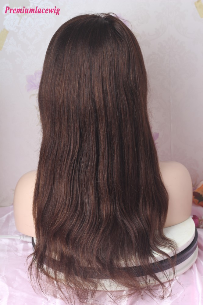 16inch Color 3 Light Yaki Full Lace Wig 150 Density Transparent Lace Color