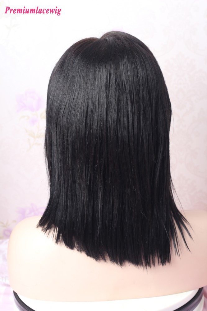 Silk Top 10inch Color 1 Yaki Straight Lace Front Wig