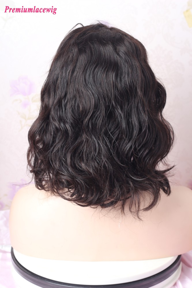 Silk Top 12inch Natural Color Romantic Curl Lace Front Wig 150 Density
