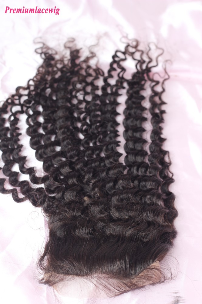 Brazilian Deep Curly Hair Lace Closure Hair 16inch