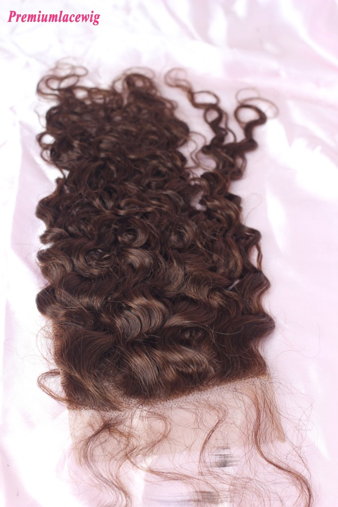 Brazilian Deep Curly Lace Closure Color 4 12inch