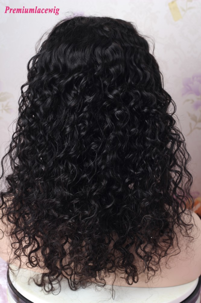 Malaysian Virgin Hair Deep Curly 13x4 Lace Front Wig 18inch 150 Density