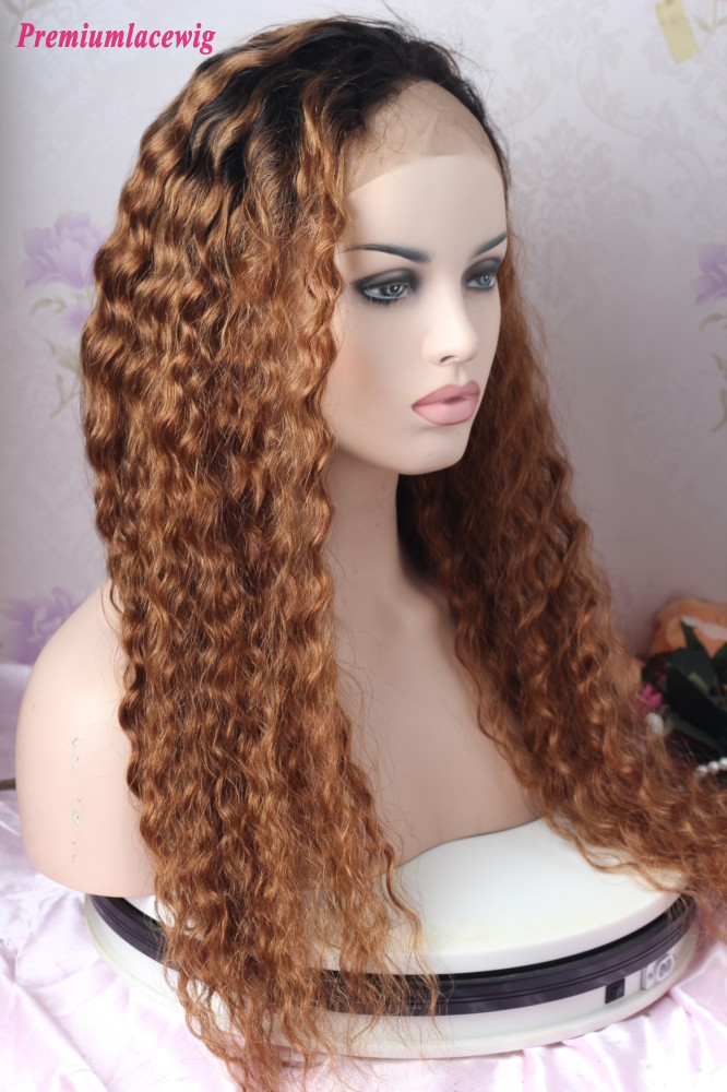 Glueless Full Lace 24inch Ombre 1B/27 Deep Wave Human Hair Wig 200 Density