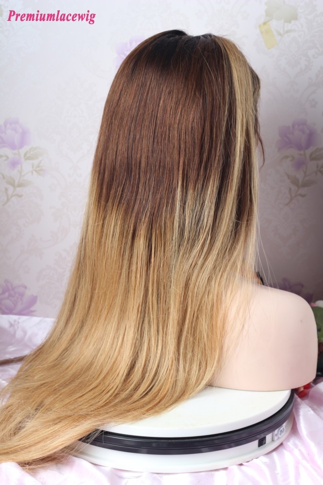 Glueless Full Lace 24inch Ombre 1B/30/27 Straight Human Hair Wig 200 Density