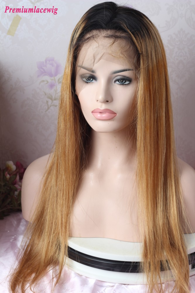 Glueless Full Lace Ombre 1B/27 22inch Straight Human Hair Wig