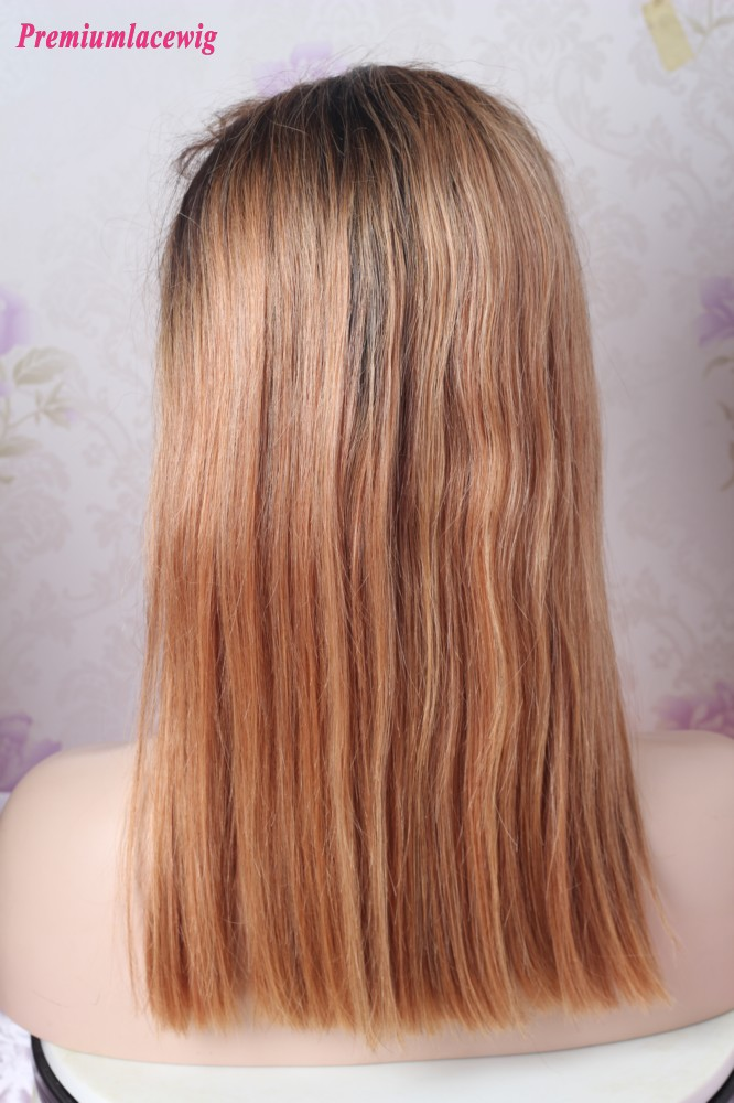 Ombre Color 1B/33 14inch Straight BOB 13x4 Lace Front Human Hair Wig