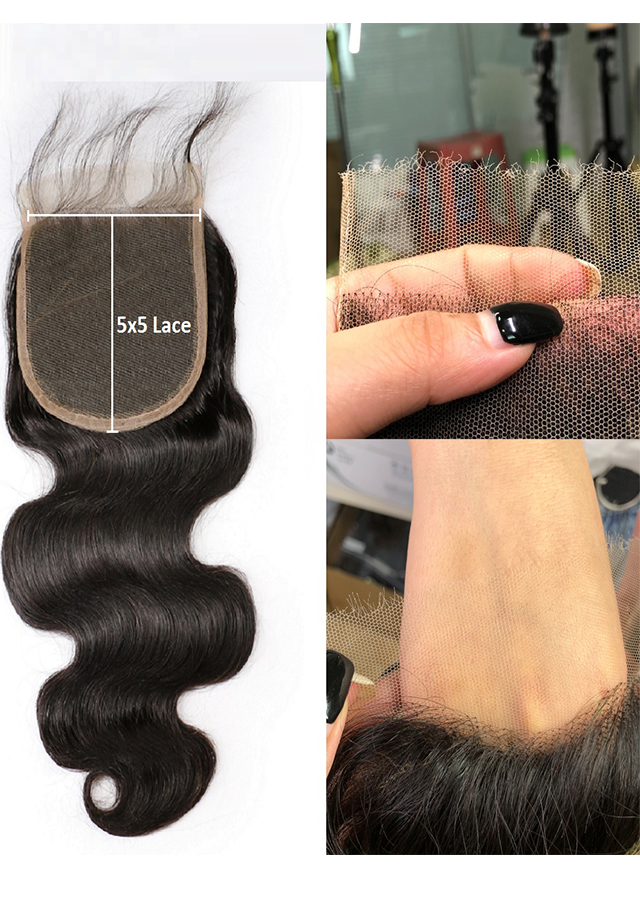 HD Lace Closure 5x5 Body Wave Brazilian Remy Human Hair With Baby Hair