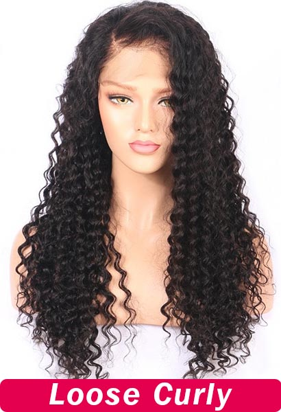 250% Density 20inch 13x4 Lace Front Wig Loose Wavy Curly Human Hair Wigs