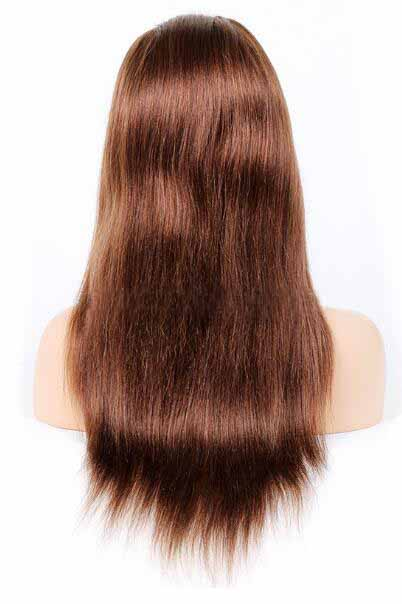 Color 4 Braizlian Human Hair Light Yaki Straight Glueless Full Lace Wig