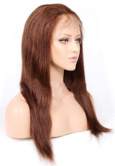 Color 4 Light Yaki 16inch Peruvian Glueless Full Lace Wig