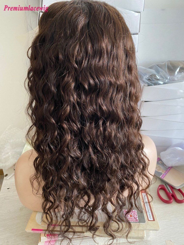 18inch Brazilian 13x6 Lace Front Wigs Water Wave Pre Plucked Wigs  Color 4