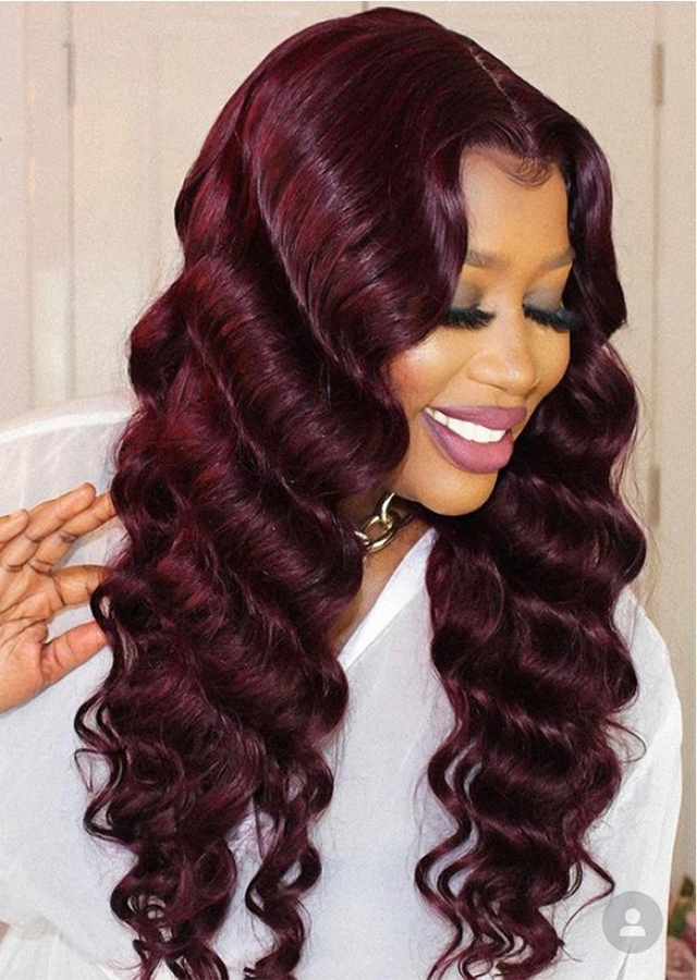 99J Burgundy HD Lace Frontal Wigs Colored Lace Front Human Hair Wigs for Women