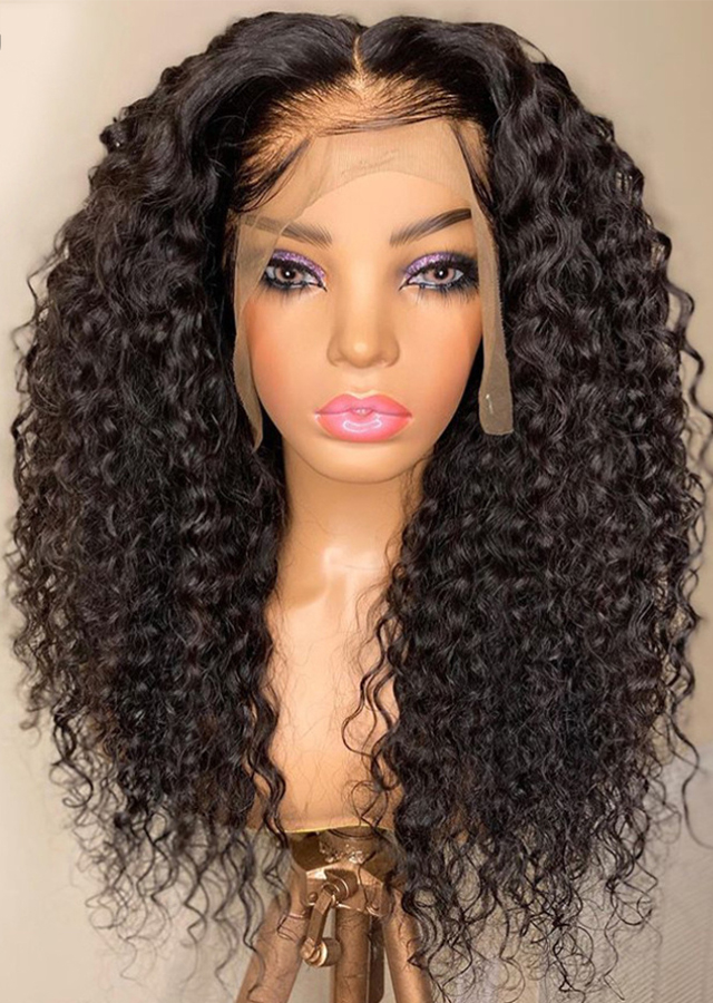 Curly Human Hair HD Lace Wig Human Hair Pre Plucked Curly Deep Part Wig