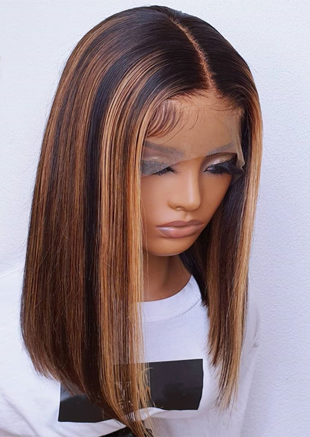 HD lace Piano Color 1B with highlite 30 Pre plucked Virgin Human Wigs