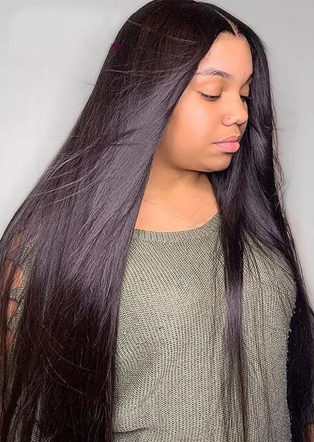 Straight Glueless Lace Front Human Hair Wigs For Black Women Pre Plucked