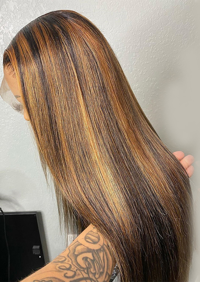 Piano Color 1B 30 with 27 Straight Wig Ombre Lace Front Human Hair Wigs Brazilian Remy Hair Wig Baby Hairline Per Plucke
