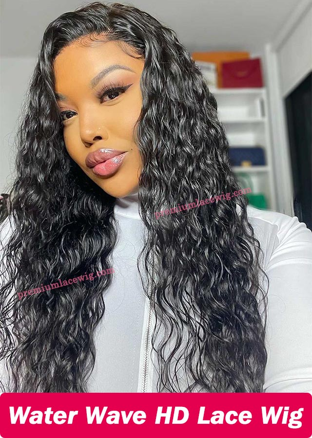 Water Wave Lace Front Wig 20inch Peruvian Virgin Hair Pre Plucked
