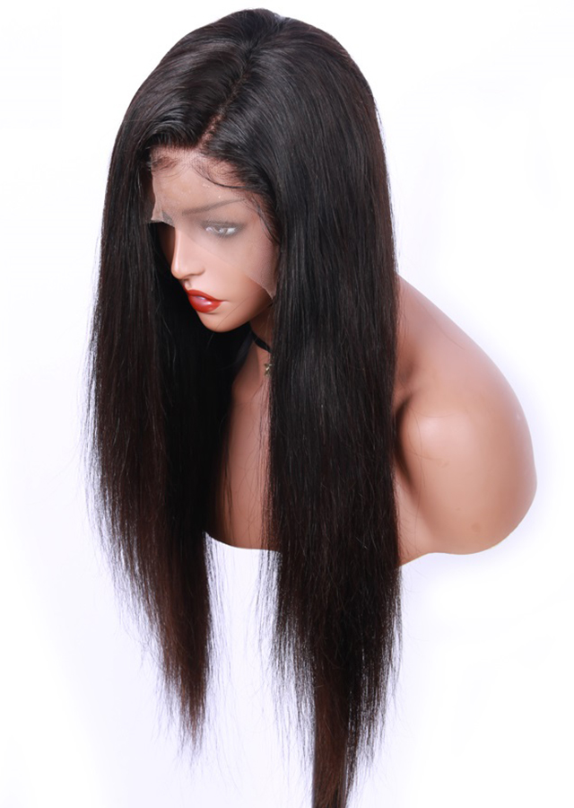 22inch Natural Color Light Yaki Full Lace Human Hair Wig