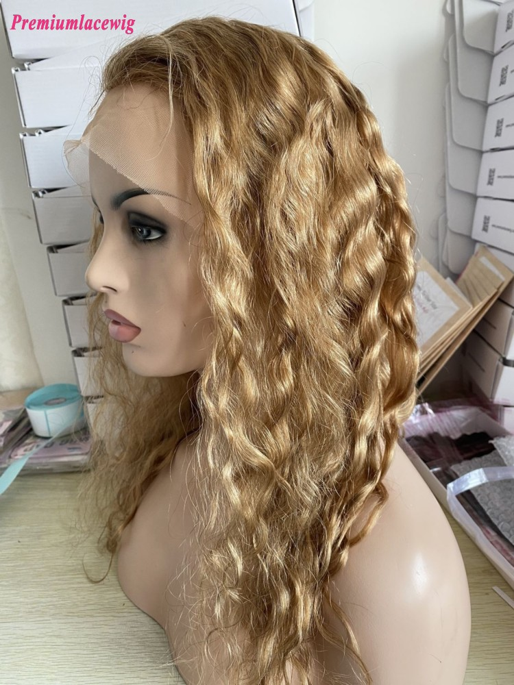 Color 27 20inch Glueless Full Lace Human Hair Wigs Loose Wave 130 Density