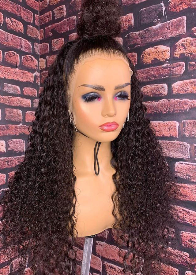 Deep Curly Glueless Curly Lace Human Hair Wigs Water Black Women Brazilian 13x6 Frontal Wig Plucked