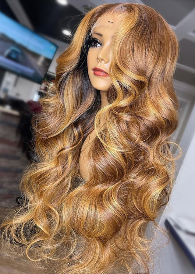 Honey Blonde Body Wave Lace Front Wigs Pre-Plucked 13x4 Lace Frontal Wigs Highlight Wigs Human Hair Wigs For Women