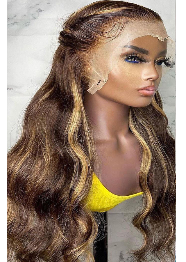 4/27 Highlight Wig Brazilian Body Wave Wig Lace Front Human Hair Wigs Honey Blonde Ombre Lace Front Wig