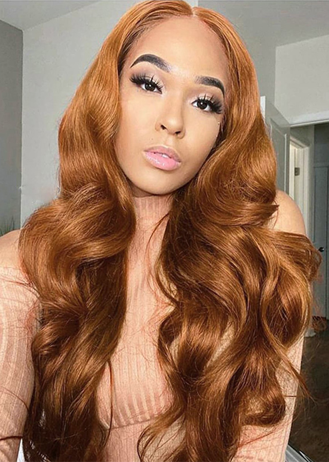 Blonde Highlight Lace Front Human Hair Wigs Body Wave Transparent Lace Frontal Wigs Color 30
