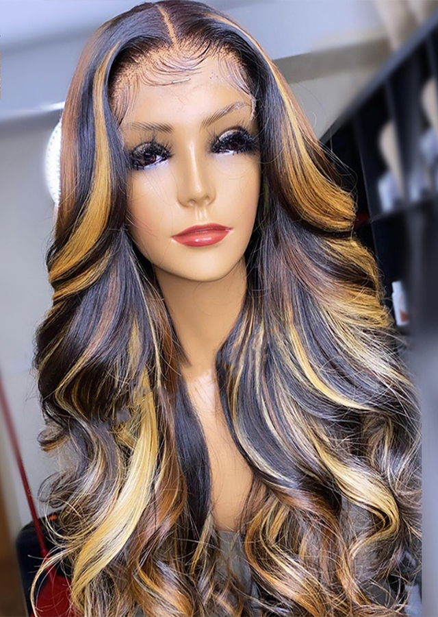 Ombre Highlight Honey Blonde Wig 180% Long Loose Wave Wig 13x4 Lace Front Human Hair Wigs