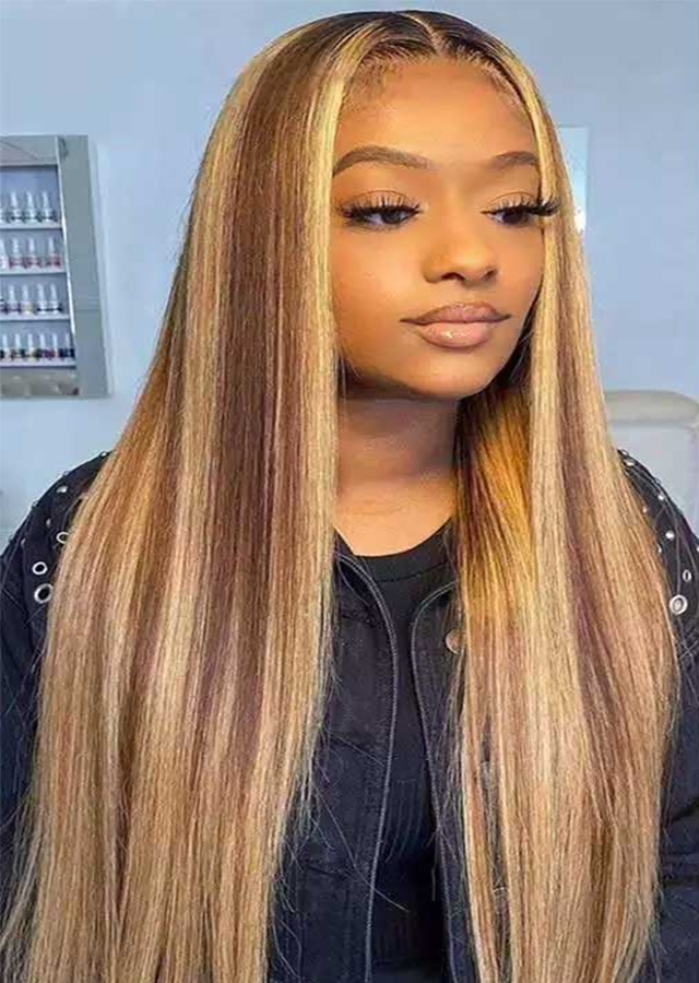 ombre root color 2 with piano color 30 and 27 Straight Lace Front Wig Highlight Wig Human Hair Wigs