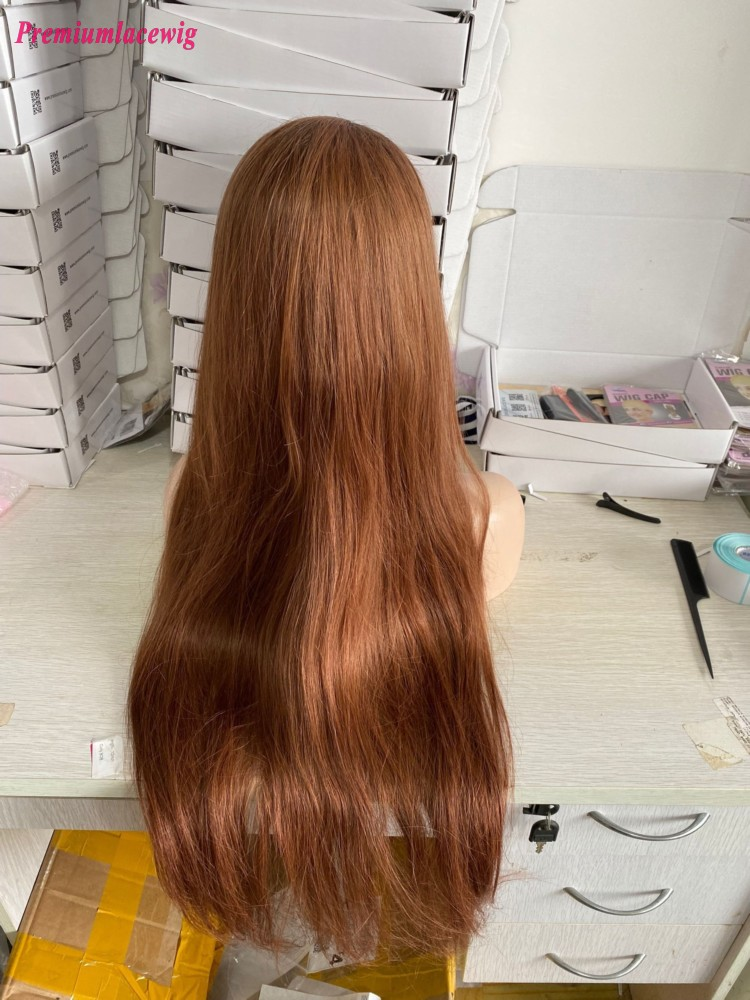 Ombre 1B/33 34inch Glulessless Full Lace Human Hair Wigs Pre Plucked